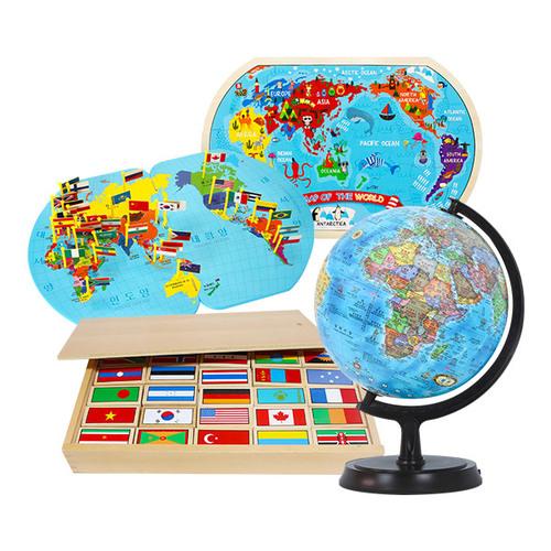 Cs (수학자연탐구) 세계여러나라4종(1878set)→(깃발만국기+만국기도미노+투키세계지도직소퍼즐+24cm블루오션지구본)